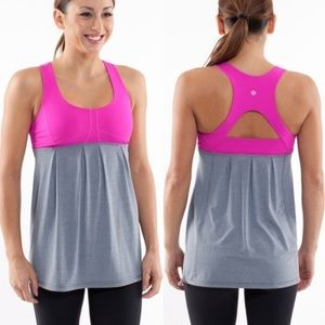 Lululemon Run Your Heart Out Gray Pink Tank 4